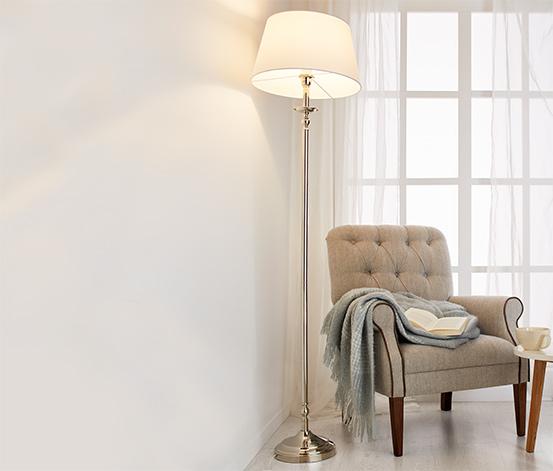 Lampa stojąca z tekstylnym kloszem