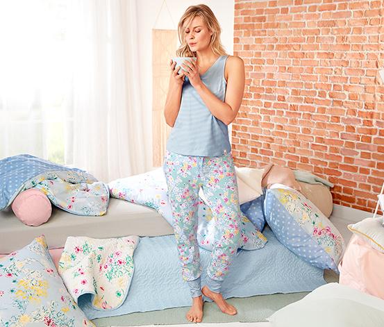 Női pizsama, ujjatlan, virágos