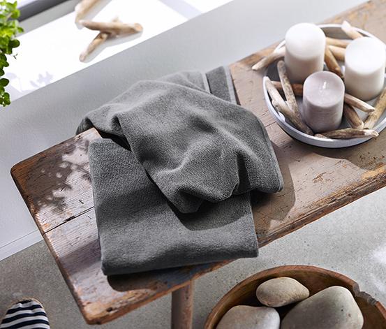 2 Frottier-Handtücher aus Bio-Baumwolle, grau