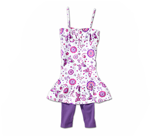 Sukienka z dżerseju i legginsy o długości ¾
