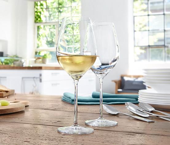 4 Adet Kristal Cam Beyaz Şarap Kadehi