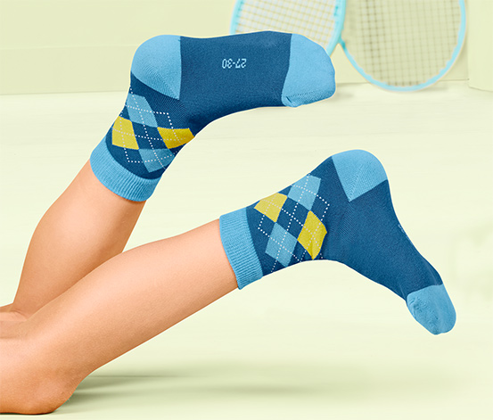 Çocuk Çorabı, Düz, Baklava Desenli ve Çizgili, 5 Çift
