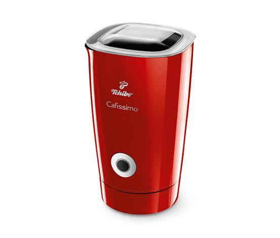 Elektrický napěňovač mléka, červený