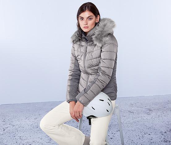 Lyžařská prošívaná bunda, světle šedá s melírem
