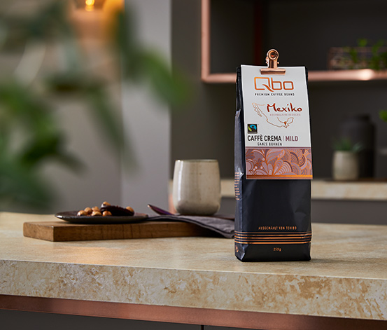 Qbo Premium Coffee Beans »Kooperative Fedecos« Caffè Crema Mild, Ganze Bohne