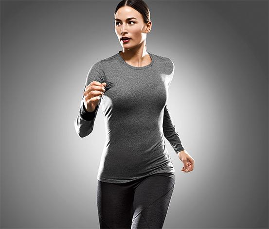 Sportovní triko s dlouhým rukávem, šedé s melírem