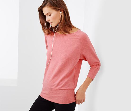 Sweatshirt à manches chauve-souris, corail chiné