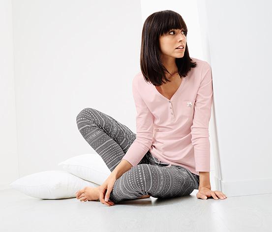 Jersey Pijama Takımı, Pembe-Kırçıllı Gri