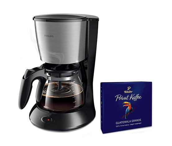 Philips HD7462/21 Filterkaffeemaschine mit Glaskanne (inkl. Gratis-Kaffee)