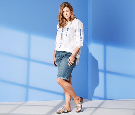 Jeansshorts mit Kontrastnaht