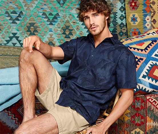 Férfi rövid ujjú ing, pálmafa minta