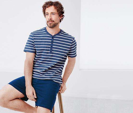 Mavi Beyaz Çizgili Organik Pamuklu Kısa Pijama Takımı
