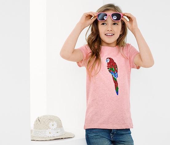 Lányka póló, papagájmintával