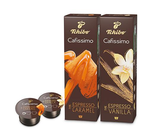Set aus 10er Kapseln Espresso Vanilla und Caramel