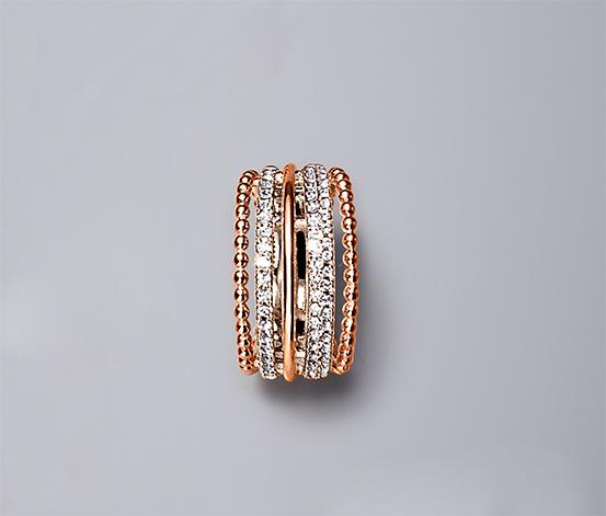 Yüzük, Swarovski® Kristali Pembe Altın Kaplama