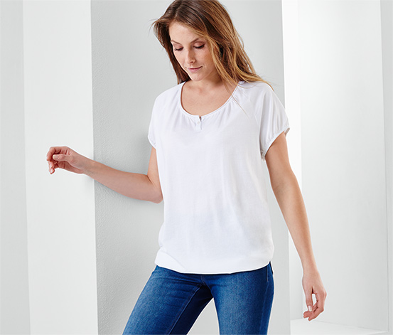 Női rövid ujjú póló, fehér