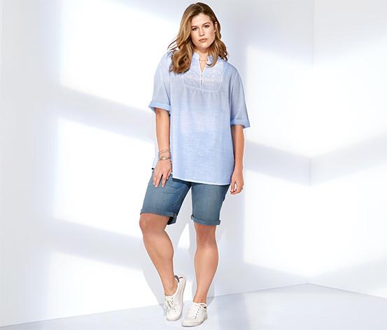 Organik Pamuklu İşlemeli Bluz, Mavi Beyaz Çizgili
