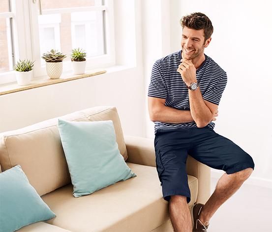 Spodnie bojówki o długości 3/4, niebieskie