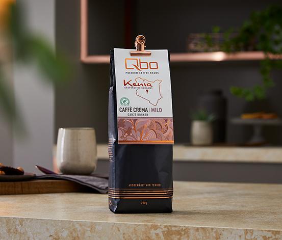Qbo Premium Coffee Beans »Kooperative Baragwi« Caffè Crema MILD, 12x 250g, Ganze Bohne