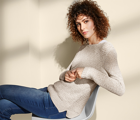 Női kötött pulóver, bézs