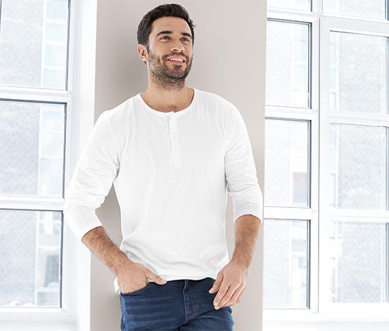 Henley-Langarmshirt aus Bio-Baumwolle, weiß