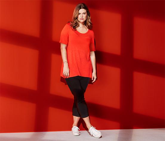 Női hosszított felső, piros-narancs