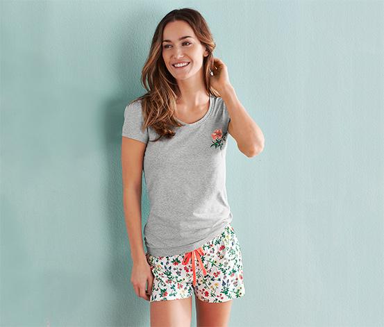 Piżama z koszulką i krótkimi spodenkami, szara nakrapiana i biała z nadrukiem na całej powierzchni