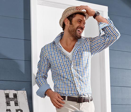 Koszula w kratkę karo, beżowo-niebieska