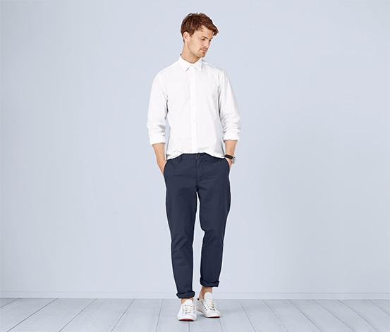 Spodnie w stylu chino z bawełną ekologiczną, niebieskie
