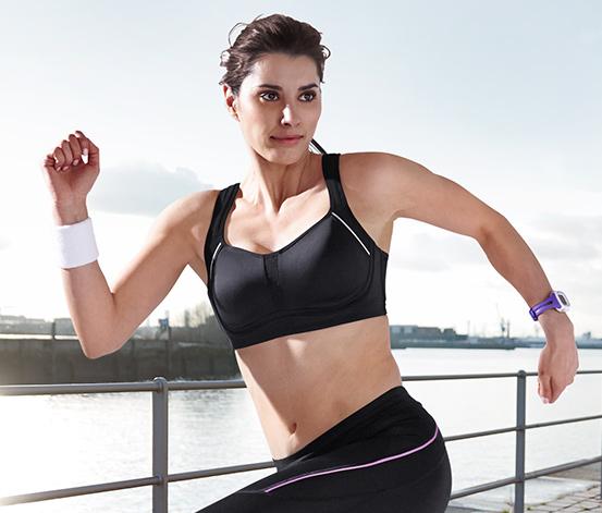 Női sportmelltartó, extra erős, fekete