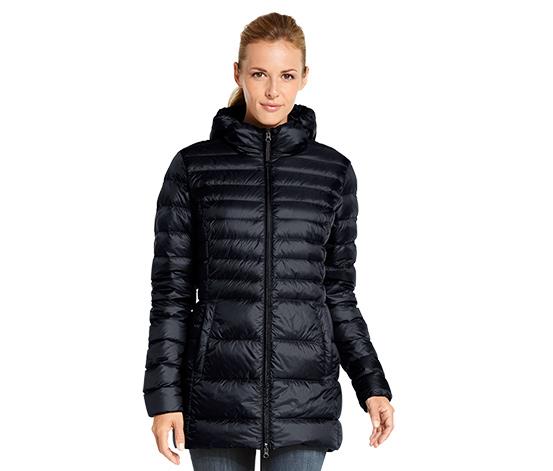 Pikowany płaszcz puchowy, czarny