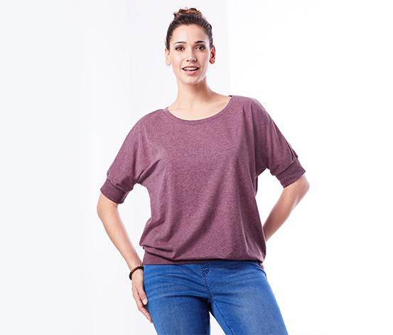 Kırçıllı Mürdüm Rengi Organik Pamuklu Yarasa Kollu Tişört