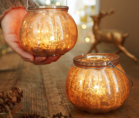 Oprawki na świeczki typu tea light, 2 sztuki, złote