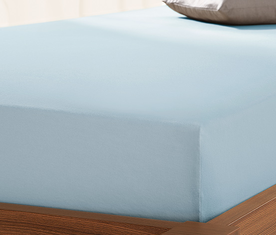 Prześcieradło dżersejowe z gumką, 180 x 200 do 200 x 200 cm, niebieskie
