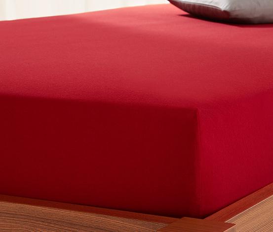 Prześcieradło dżersejowe z gumką, 90 x 190 do 100 x 200 cm, czerwone