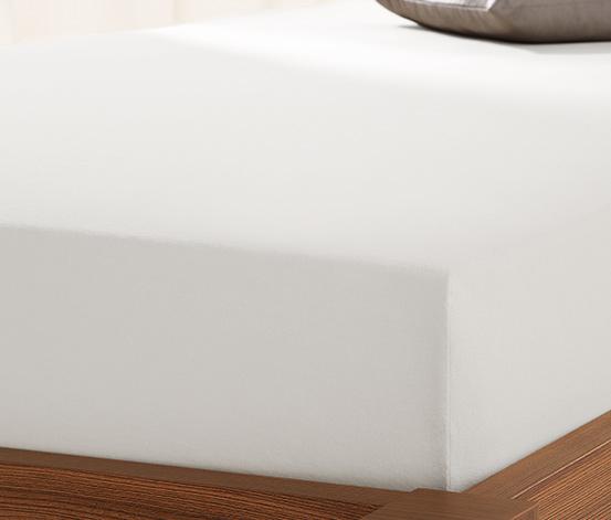 Prześcieradło dżersejowe z gumką, 90 x 190 do 100 x 200 cm, białe