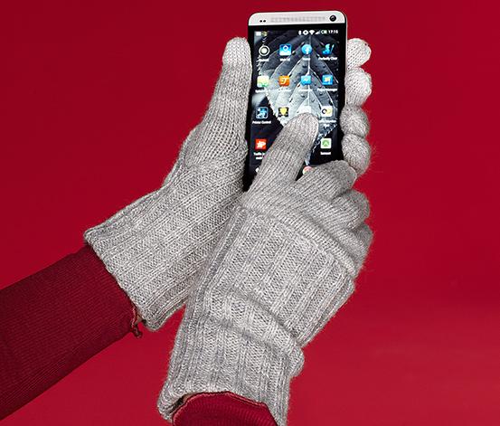 Pletené rukavice, šedé s melírem