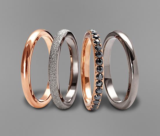 Prsteny, 4 ks, sada v růžovém provedení