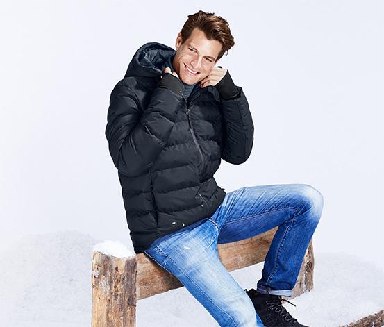 Férfi kapucnis steppelt kabát