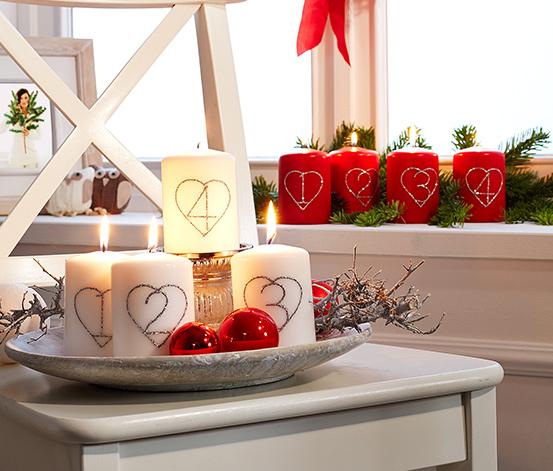 Adventní svíčky, 4 ks, červené