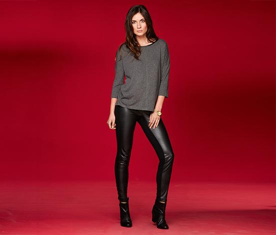 klasszikus stílusban forró termékek árengedmény Női bőrhatású nadrág, fekete 296501 a Tchibo-nál.