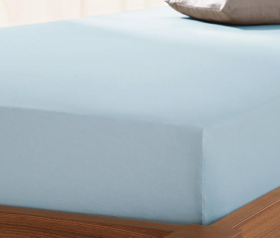 Prześcieradło dżersejowe z gumką, 140 x 200 do 160 x 200 cm, niebieskie