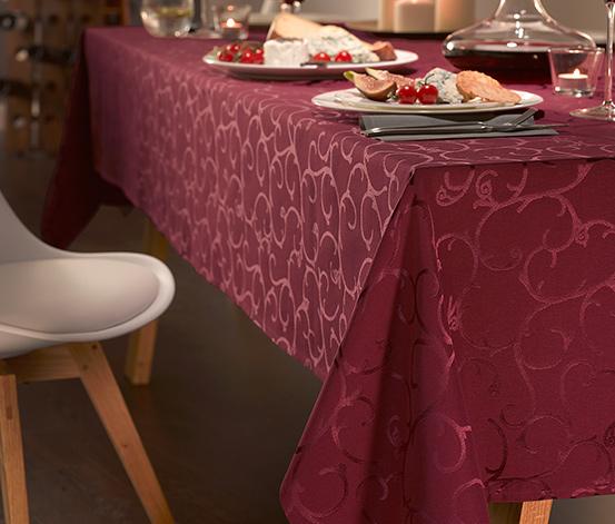 Žakárový ubrus, vínově červený, cca 140 x 180 cm