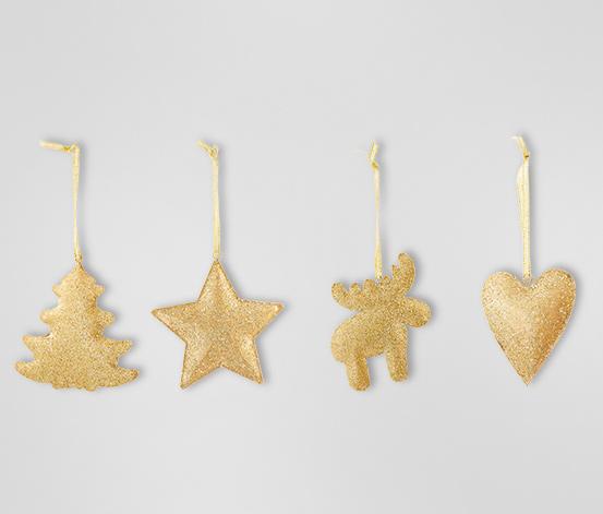 Zawieszki dekoracyjne, 4 sztuki, złote