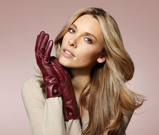 Kožené rukavice, bordó