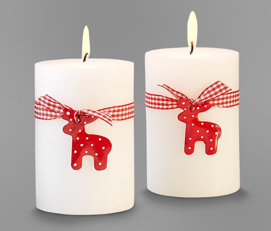 Ozdobné svíčky, 2 ks, bílé