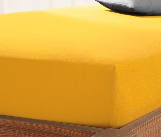 Prześcieradło dżersejowe z gumką, 90 x 190 do 100 x 200 cm, żółte