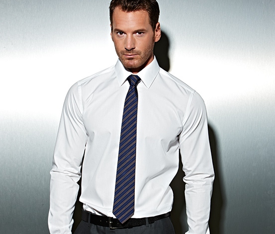 Krawat jedwabny, niebieski w paski
