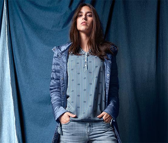 Mavi Beyaz Tunik Bluz