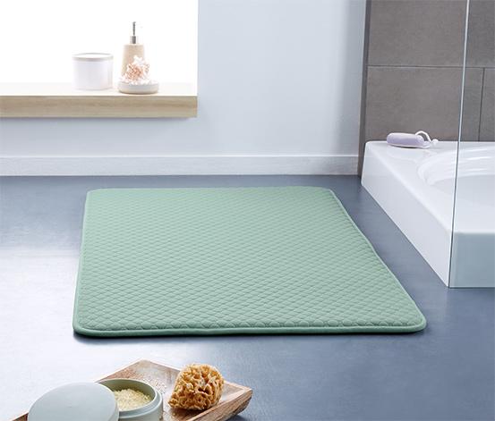 Bladozielony piankowy dywanik łazienkowy 60x100 cm, z tłoczonymi geometrycznymi wzorami